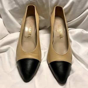 Chanel Beige & Black Block Cap Toe Kitten Heel 5.5